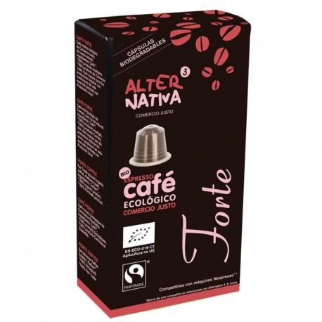 Cafe capsulas Forte BIO 10 ud Comercio Justo Alternativa3