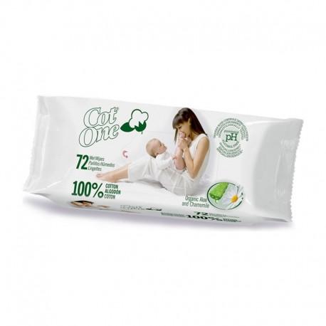 Toallitas húmedas 100% algodón Cot-One 72 unidades