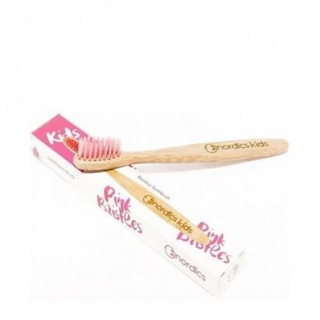 Cepillo de dientes bambú infantil rosa Nordics